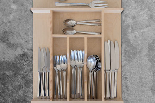 Custom Wood Cutlery Drawer Organizer Narrow Squared