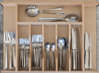 Custom Wood Cutlery Drawer Organizer Wide