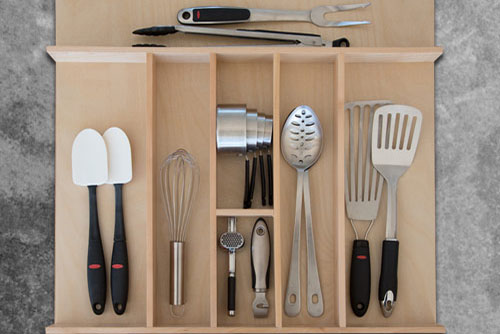 Custom Wood Utensil Drawer Organizer W Bar